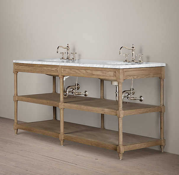 Restoration hardware weathered oak double washstand Double sink washstand