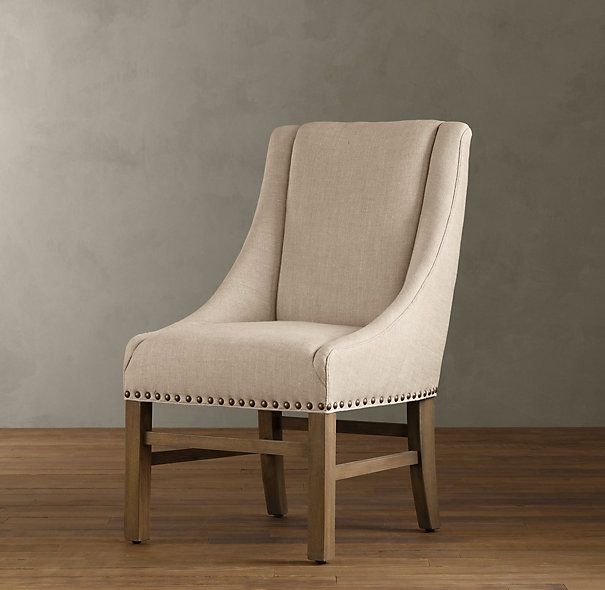 Restoration hardware nailhead upholstered chair decor for Dining room accent chairs