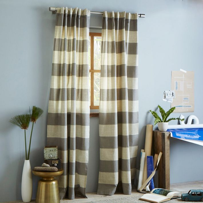 Decor Look Alikes | West Elm Cotton Canvas Bold Stripe Curtain