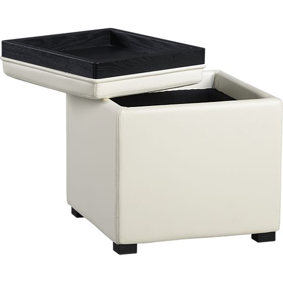 Attirant Crate And Barrel Stow Blanco Leather Storage Ottoman