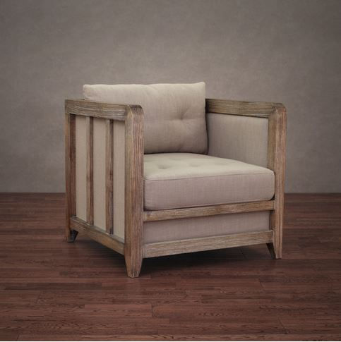 Decor Look Alikes | Overstock Creston Beige Linen Reclaimed Finish Arm Chair