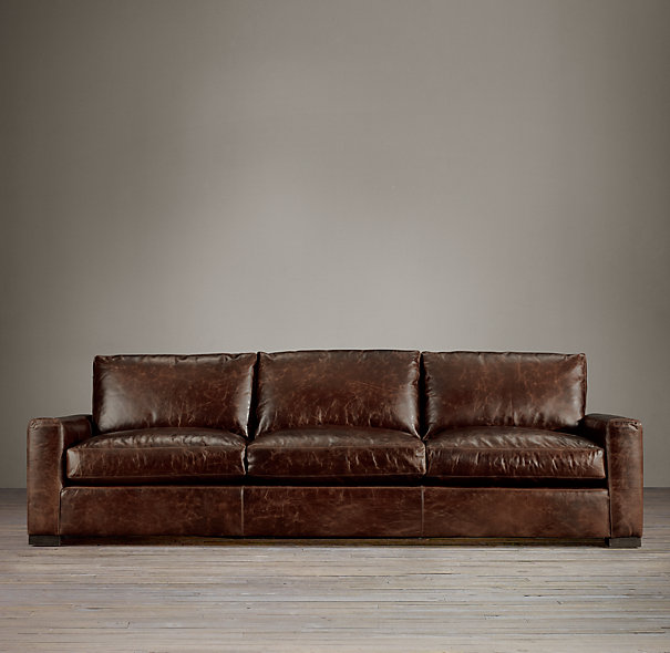 Restoration Hardware Leather : Restoration hardware maxwell three cushion sofa decor