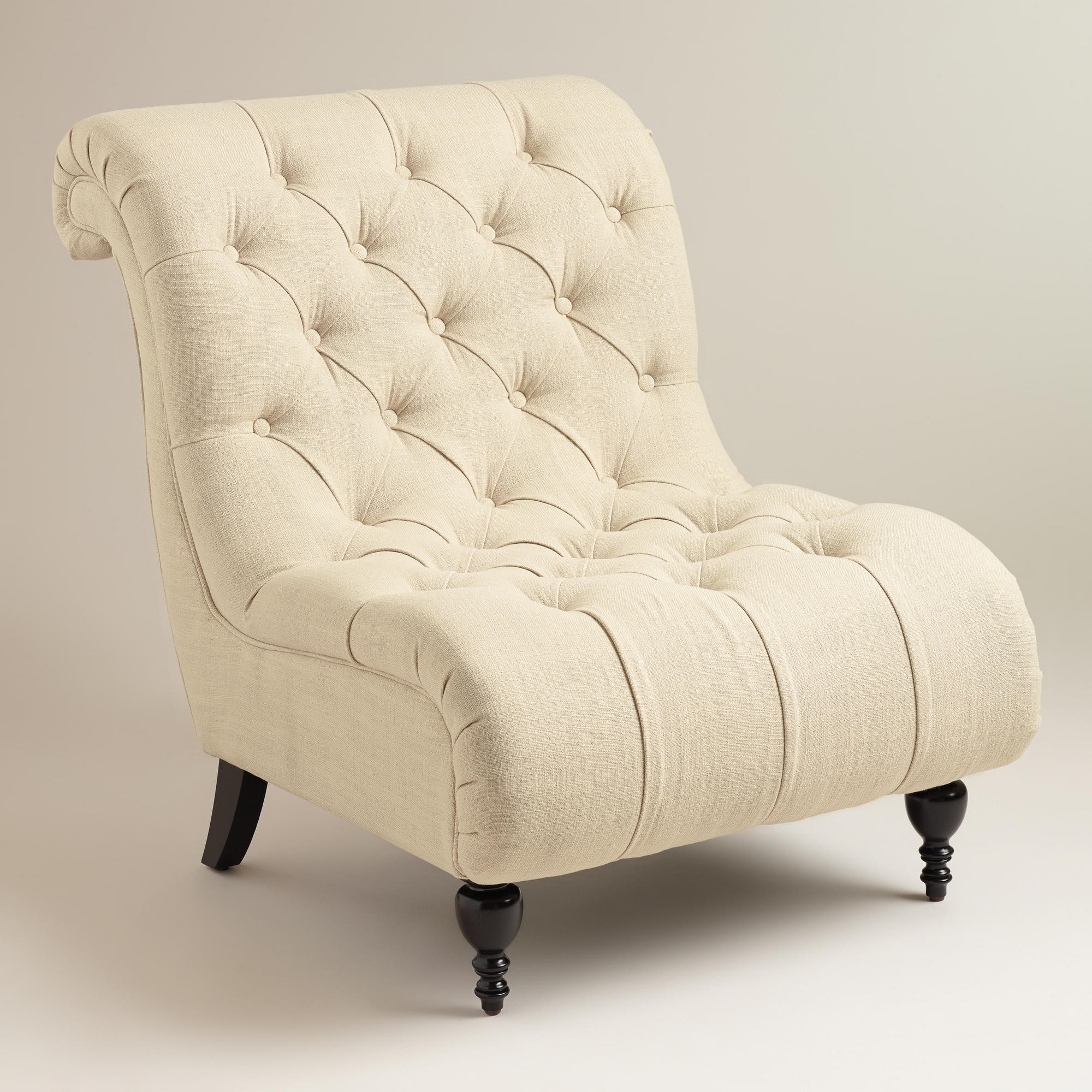 Decor Look Alikes | World Market Linen Tufted Devon Slipper Chair