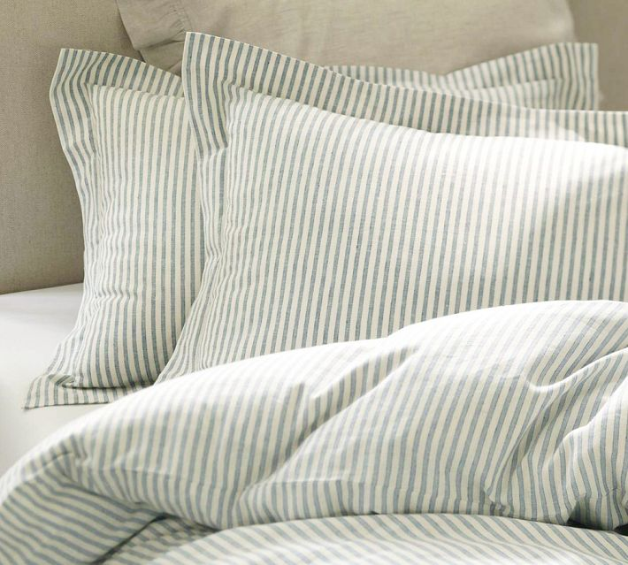 Pottery Barn Vintage Ticking Stripe Duvet Cover And Sham