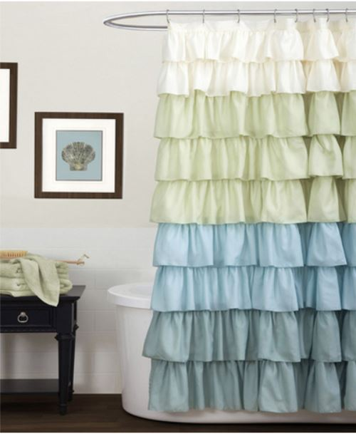Decor Look Alikes | Bed Bath & Beyond Ruffle Multi Shower Curtain