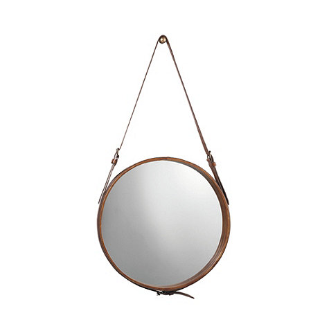 Decor Look Alikes | Ballard Designs Round Leather Mirror