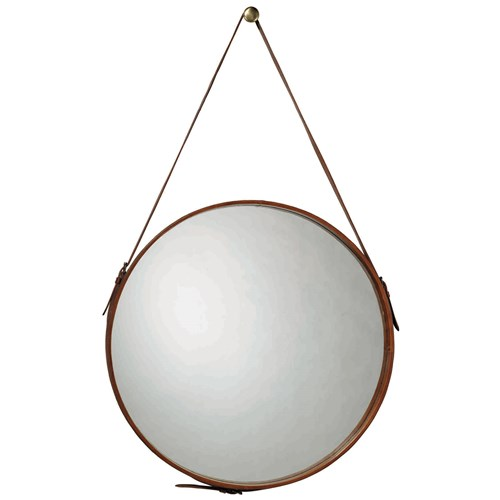 Decor Look Alikes | Zinc Door Round Leather Large Mirror