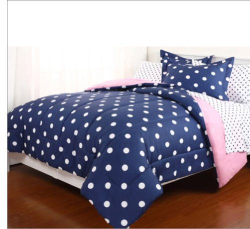Decor Look Alikes | Amazon Polka Dot Reversible Twin Comforter Set