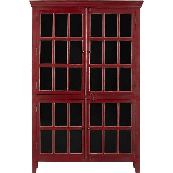 Decor Look Alikes| Crate and Barrel Rojo Red Tall Cabinet