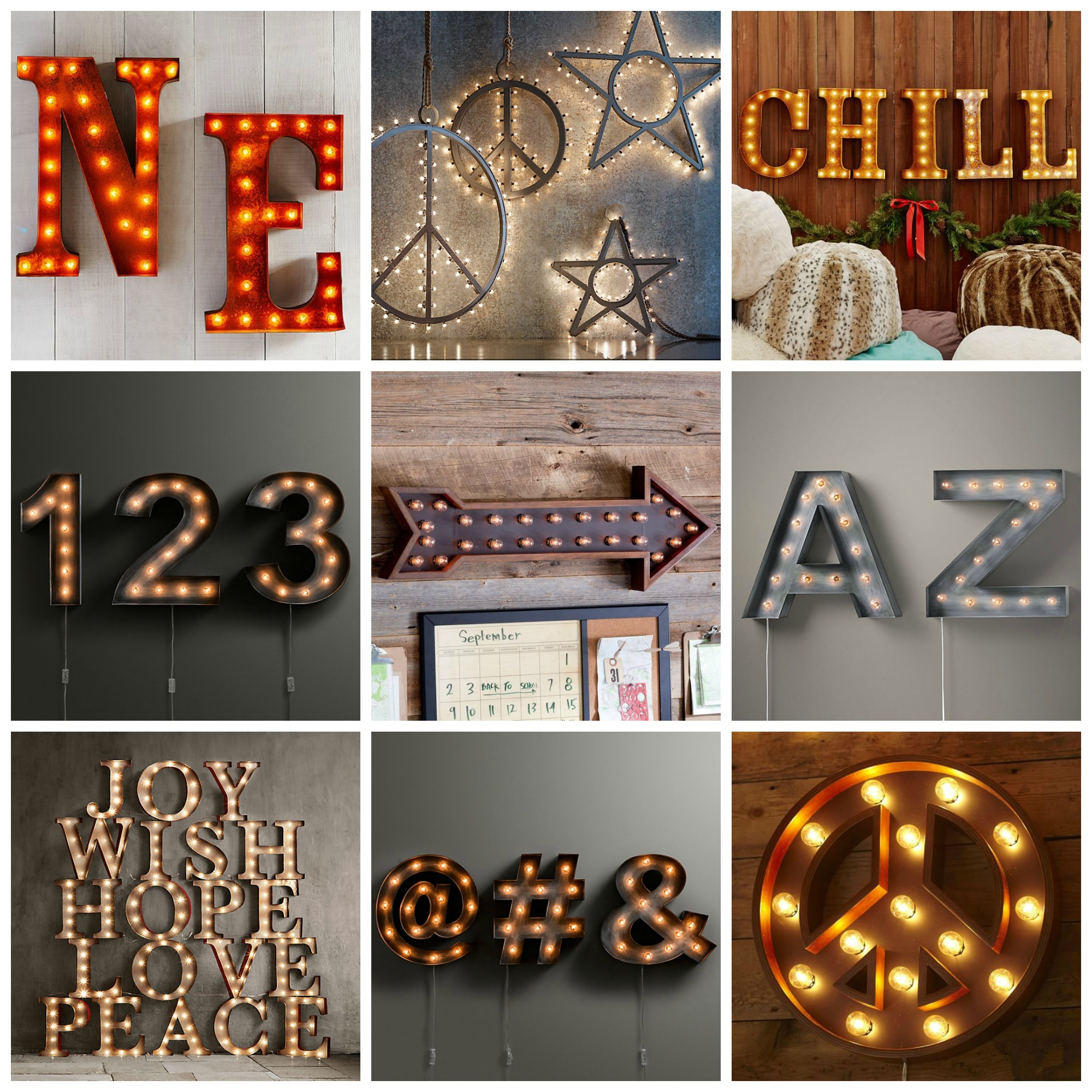Restoration Hardware Marquee Signs, Retail for $149-$299