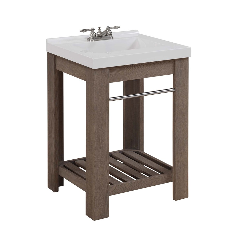 Decor Look Alikes | Lowes allen + roth Strabury Driftwood  Vanity