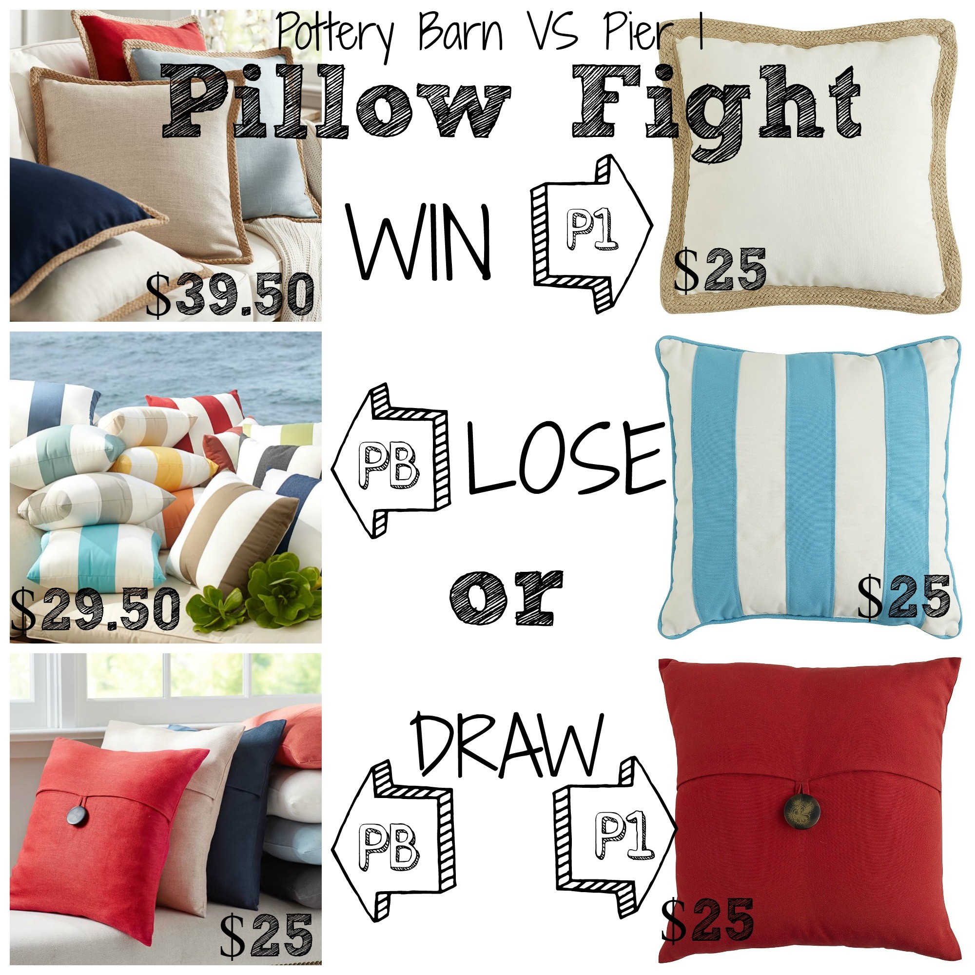 Decor Look Alikes | Pottery Barn vs Pier 1: Pillow Fight