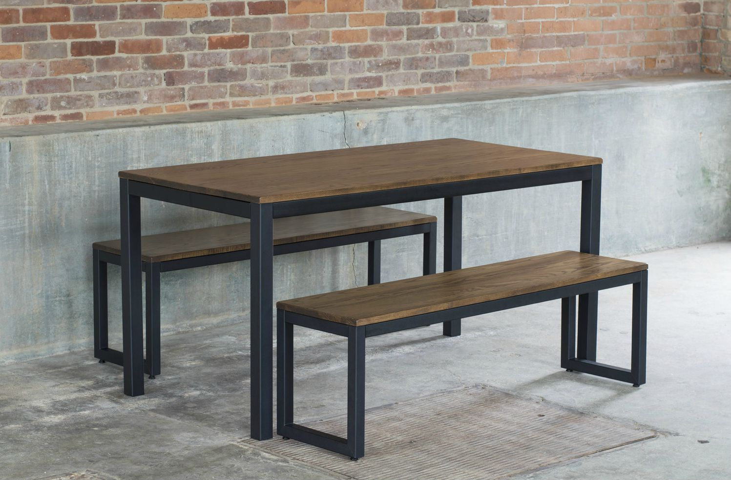 West Elm Industrial Oak & Steel Dining Table Set