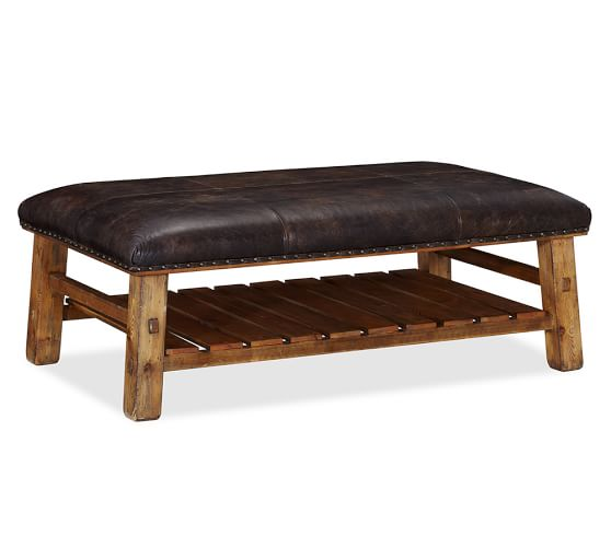 Decor Look Alikes | Pottery Barn Caden Leather Ottoman