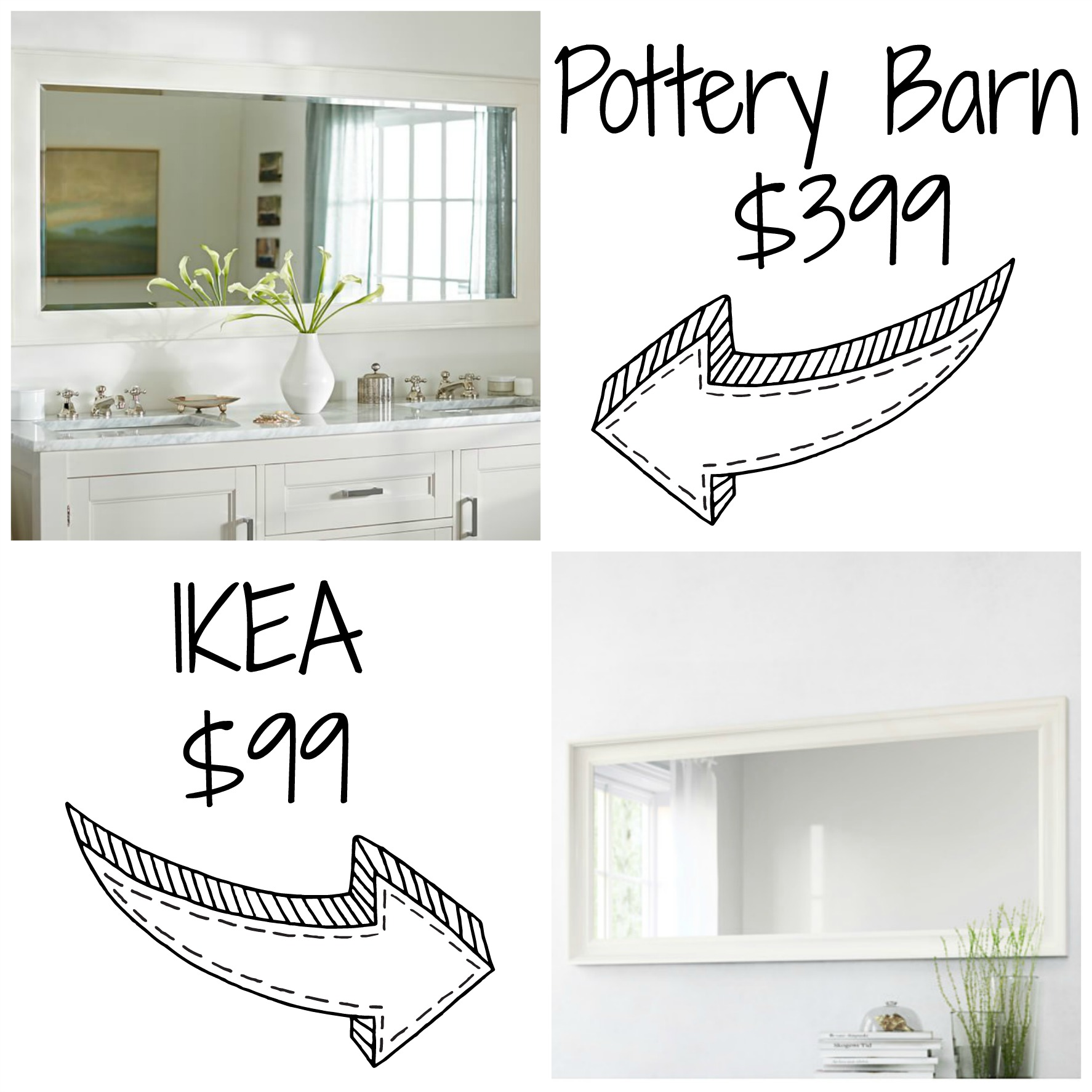 Decor Look Alikes | Pottery Barn Classic Double Wide Mirror