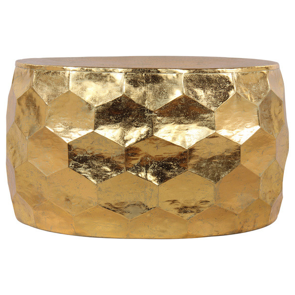 Decor Look Alikes | Hammered Gold Leaf Metal Coffee Table